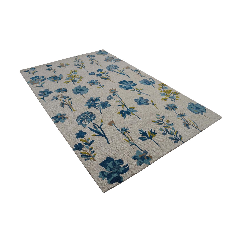 Obeetee Obeetee Flatweave Blue and Beige Floral Wool Rug discount
