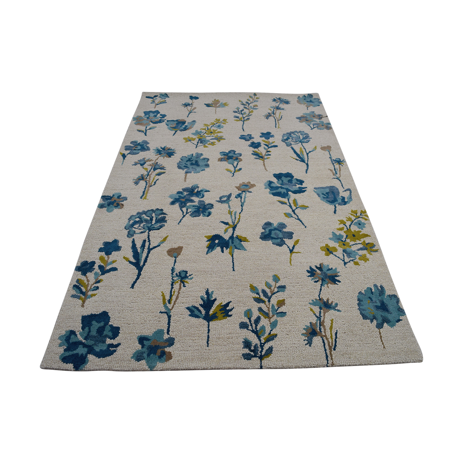 Obeetee Obeetee Flatweave Blue and Beige Floral Wool Rug second hand