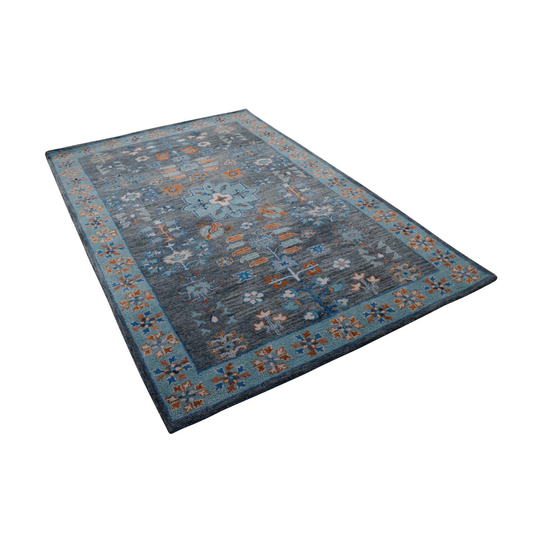 buy Obeetee Flatweave Multi Colored Blue Wool Rug Obeetee Rugs