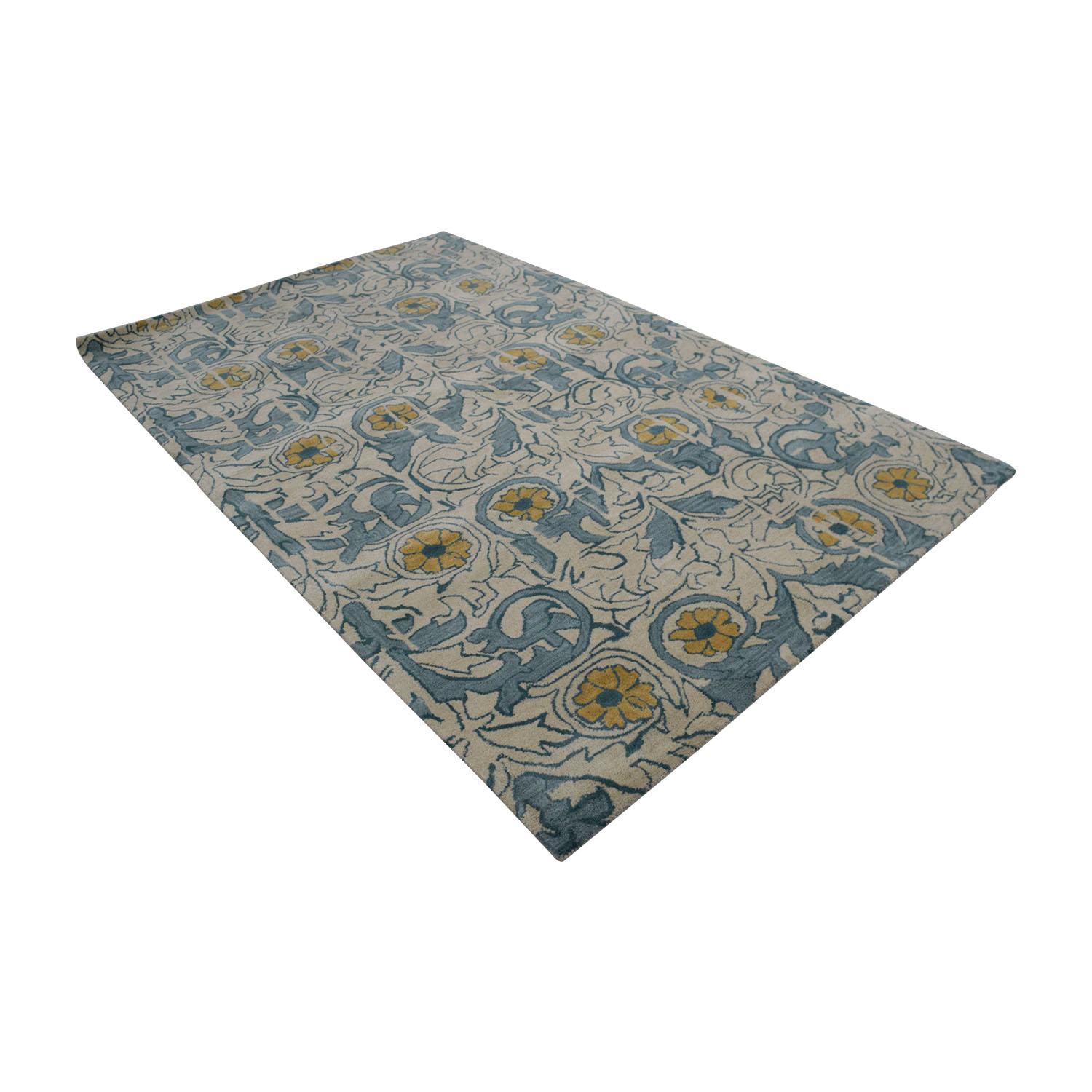 shop Obeetee Flatweave Beige and Blue Floral Wool Rug Obeetee