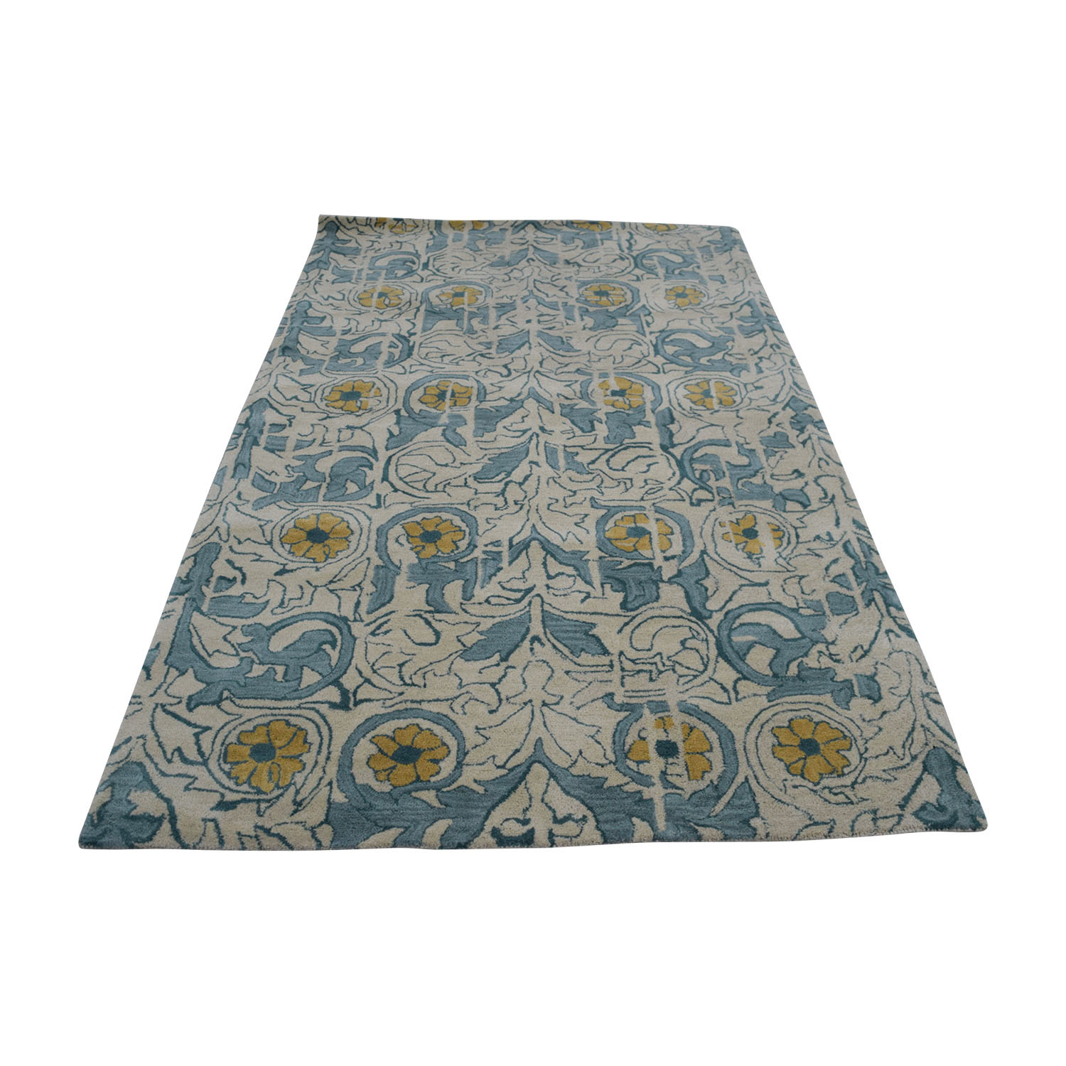 buy Obeetee Obeetee Flatweave Beige and Blue Floral Wool Rug online