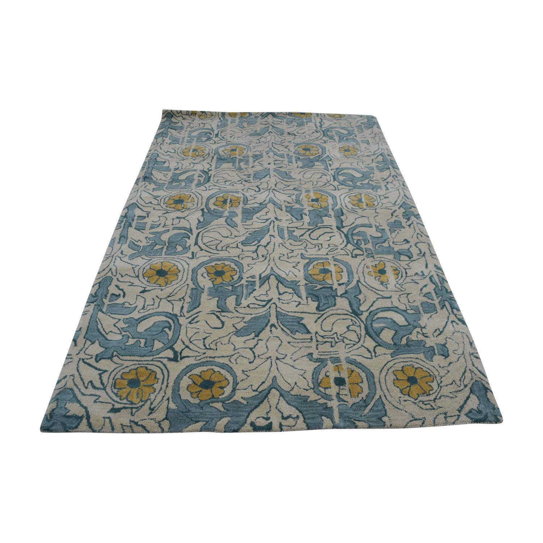 buy Obeetee Obeetee Flatweave Beige and Blue Floral Wool Rug online