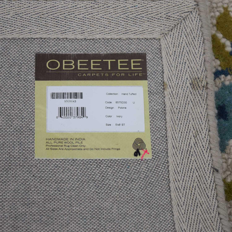 Obeetee Obeetee Flatweave Beige and Blue Floral Wool Rug price