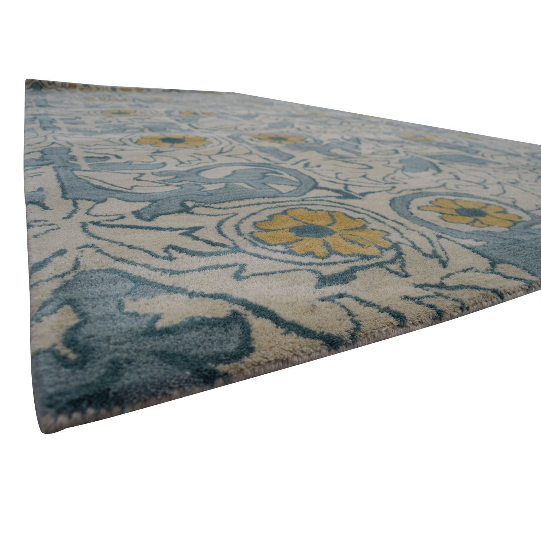Obeetee Obeetee Flatweave Beige and Blue Floral Wool Rug dimensions