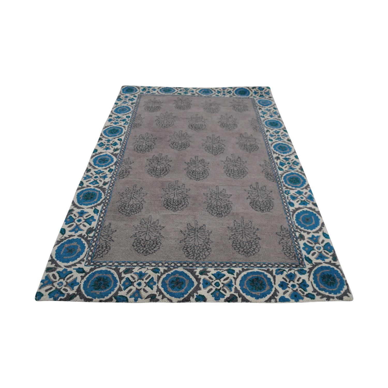 Obeetee Obeetee Flatweave Grey with Blue Border Wool Rug Decor