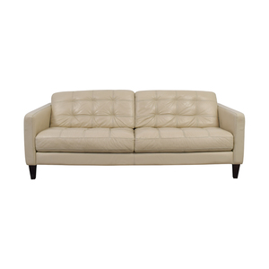 shop Macy's Cream Leather Tufted Two Cushion Sofa Macy's