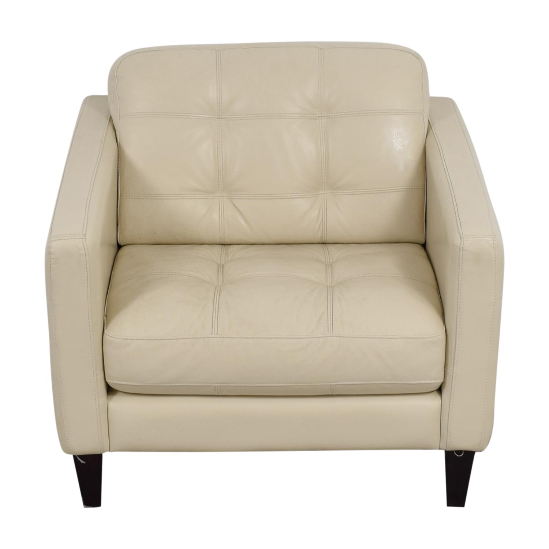 Macys Macys Cream Tufted Leather Armchair