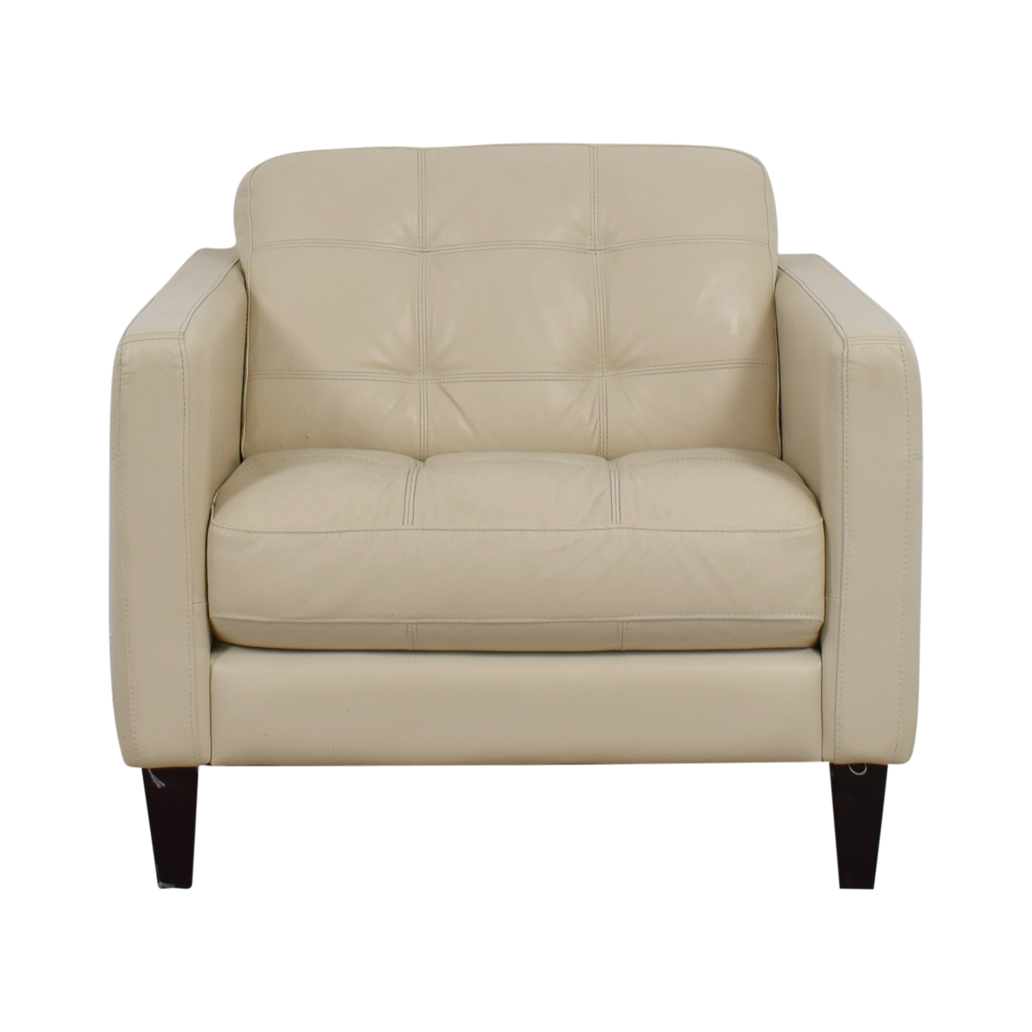 77% OFF - Macy's Macy's Cream Tufted Leather Armchair / Chairs