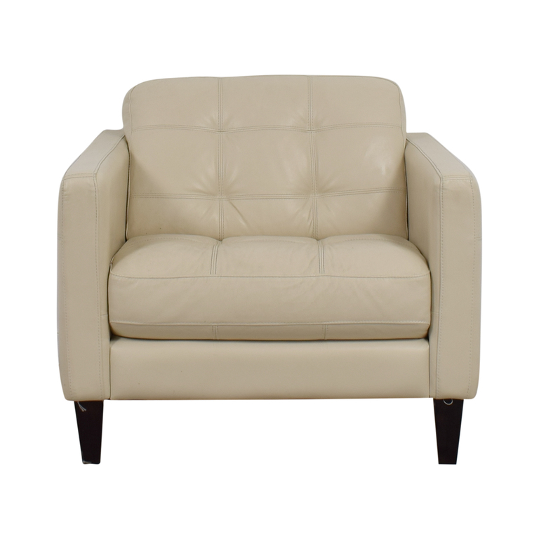 Macy's Cream Tufted Leather Armchair Macy's