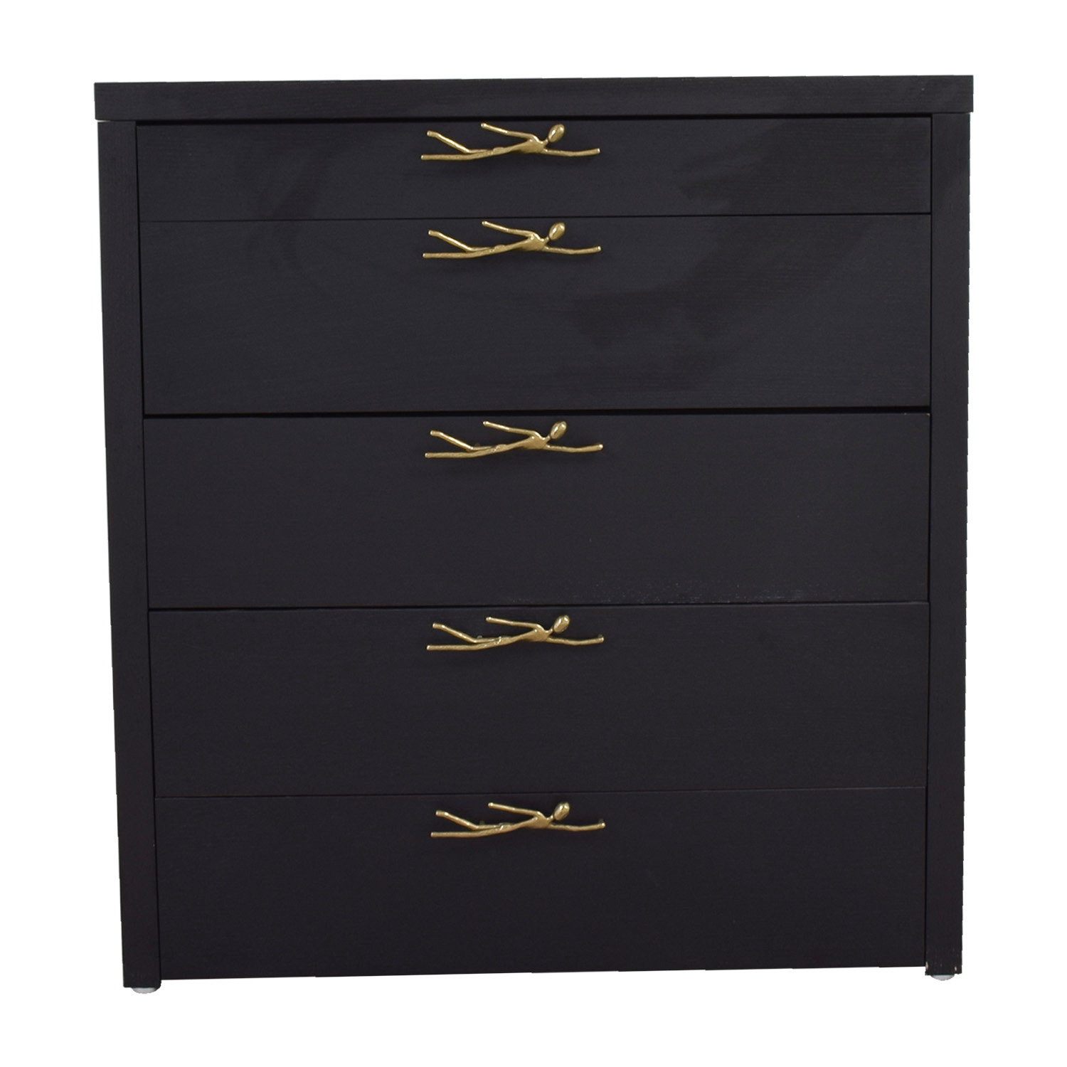 Black Wood Five-Drawer Dresser with Brass Swimmer Hardware
