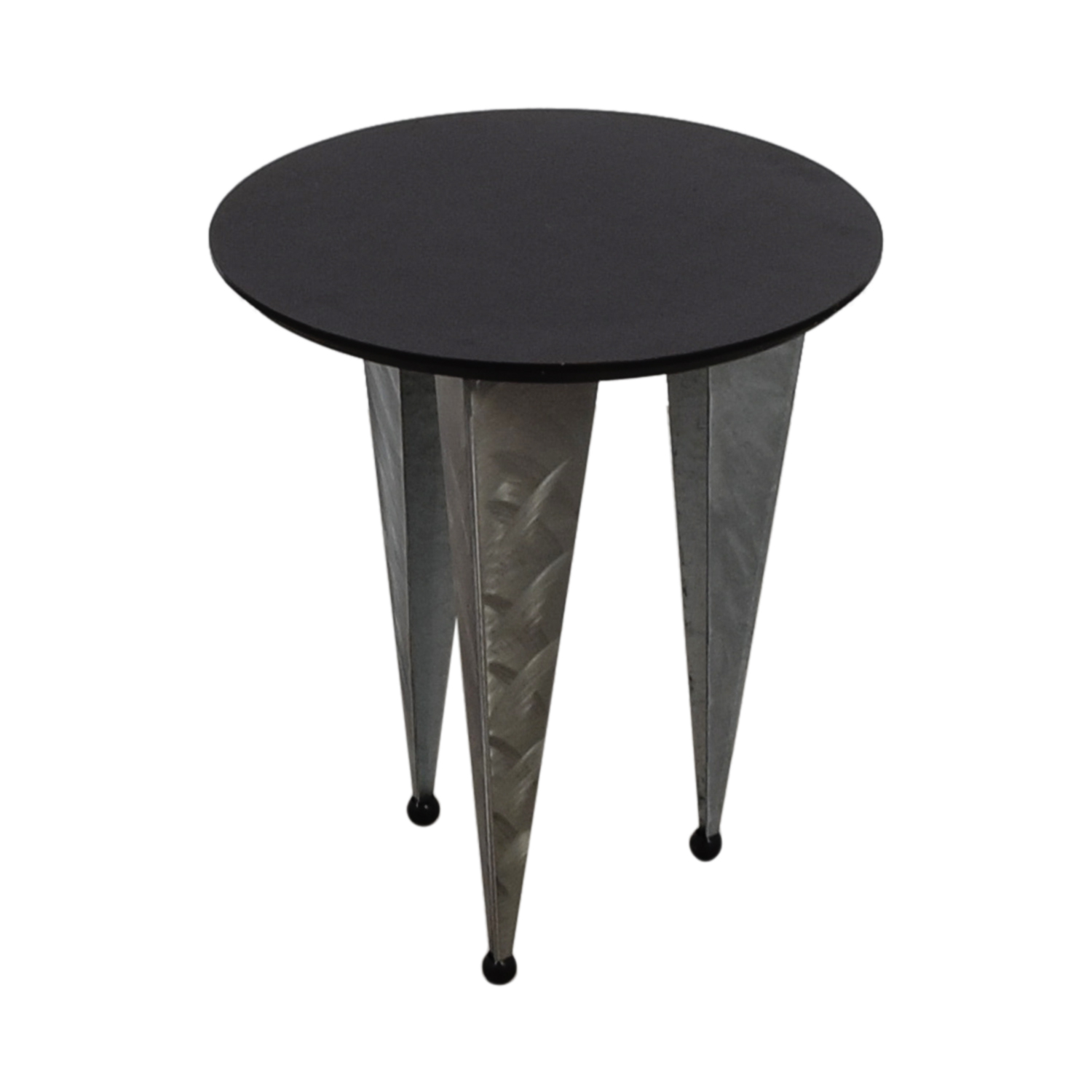 64 off art deco black round top with metallic legs end table tables. Black Bedroom Furniture Sets. Home Design Ideas