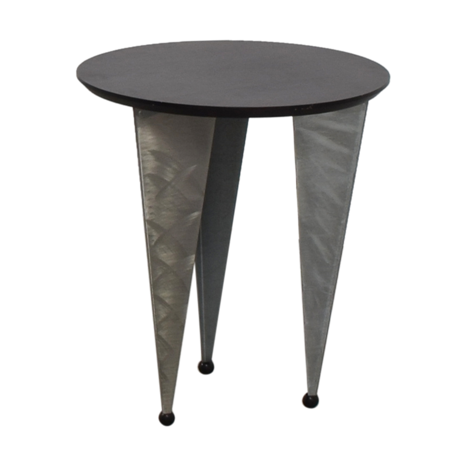 64% OFF - Art Deco Black Round Top with Metallic Legs End