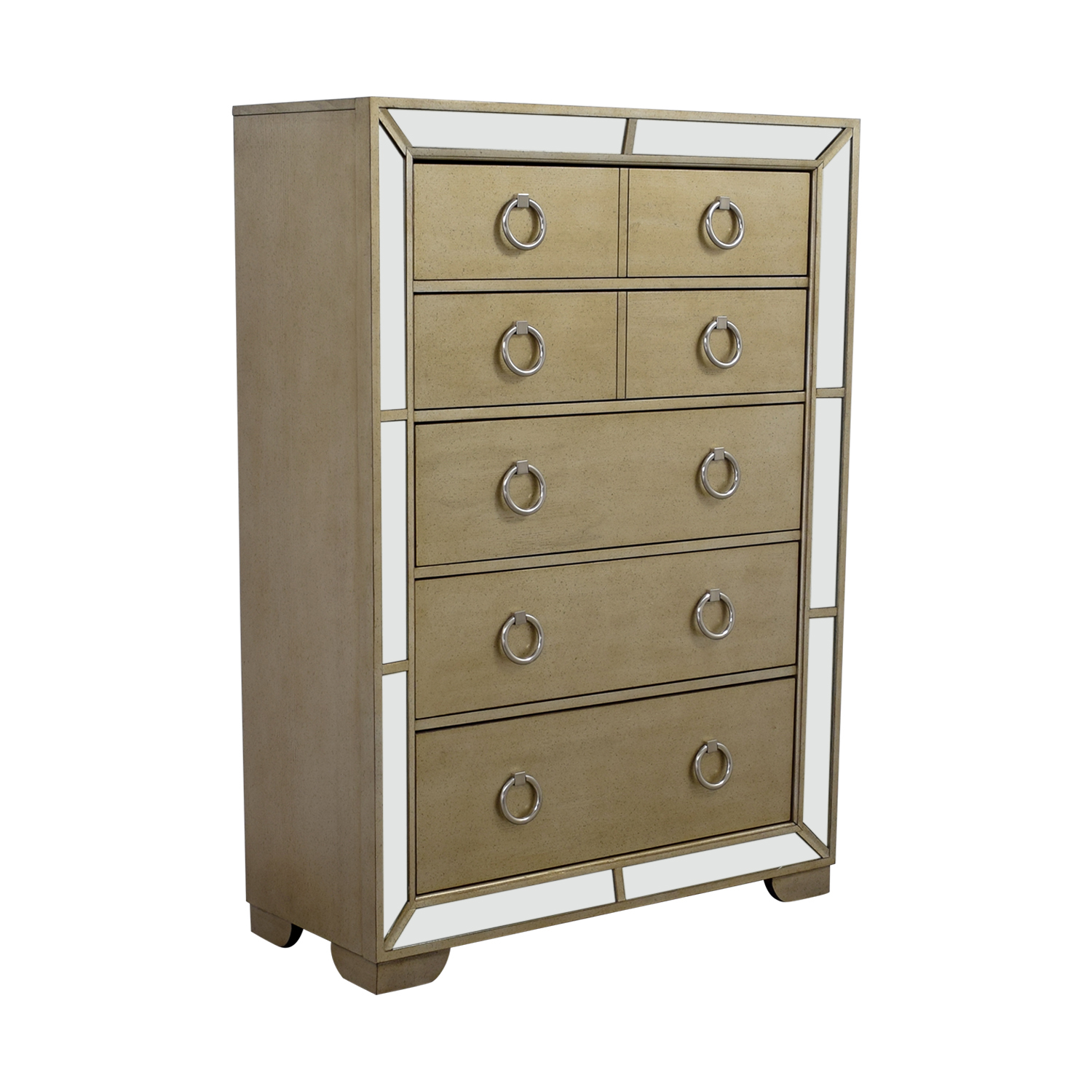 72 Off Art Deco Seven Drawer Silver Mirrored Tall