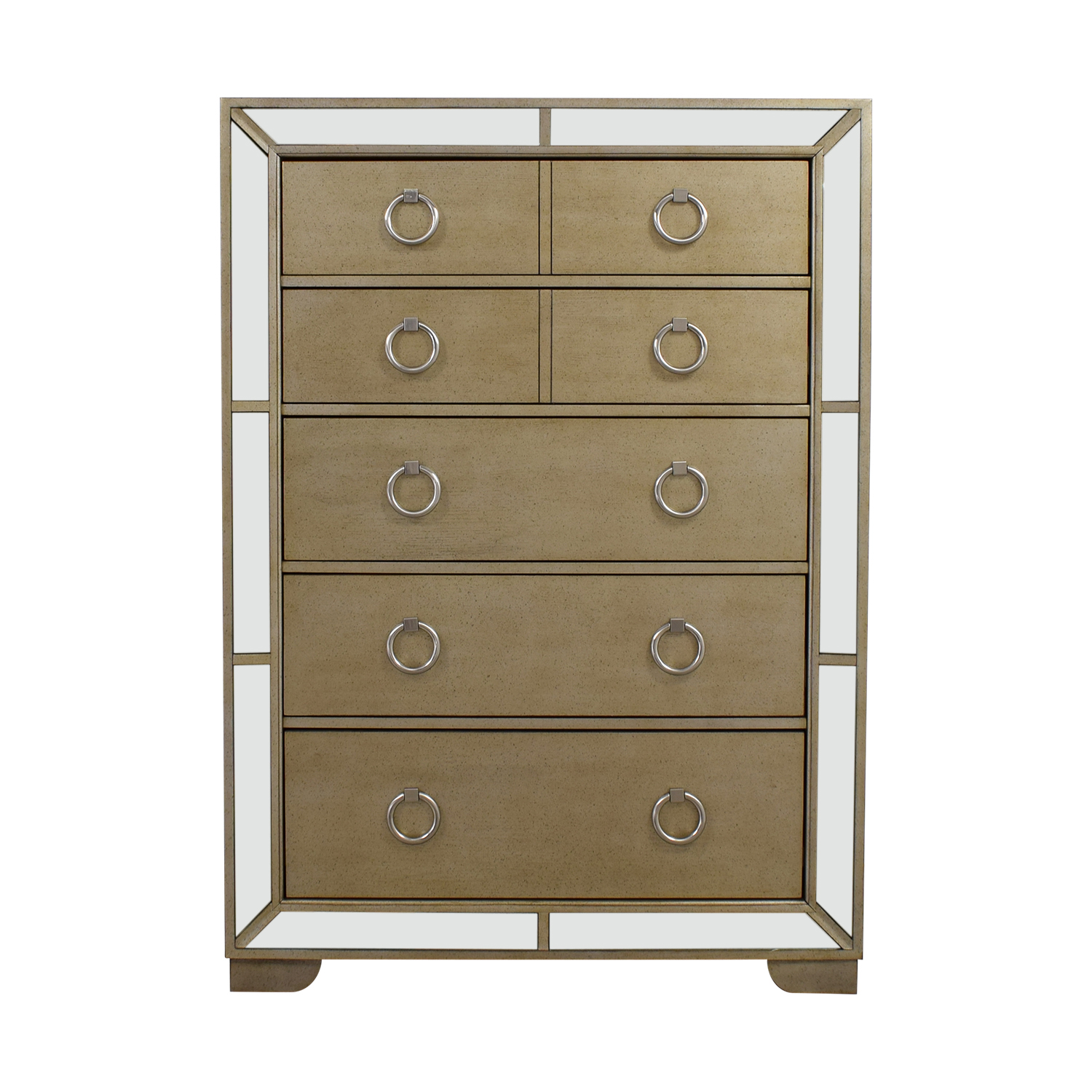 buy Art Deco Seven-Drawer Silver Mirrored Tall Dresser