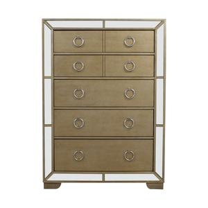 Art Deco Seven-Drawer Silver Mirrored Tall Dresser dimensions