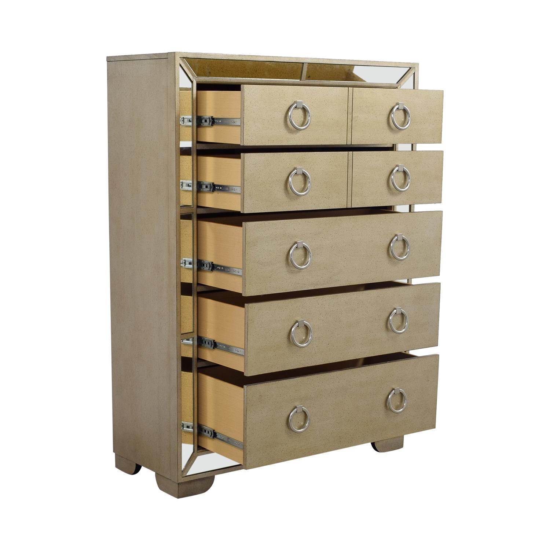72 off art deco seven drawer silver mirrored tall dresser storage. Black Bedroom Furniture Sets. Home Design Ideas