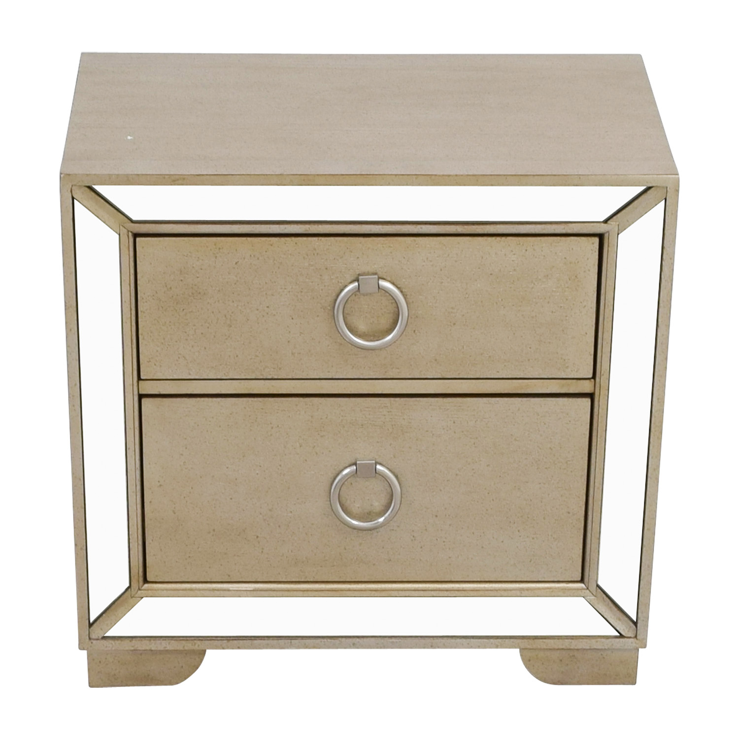 shop Art Deco Silver and Mirrored Two-Drawer Side Table