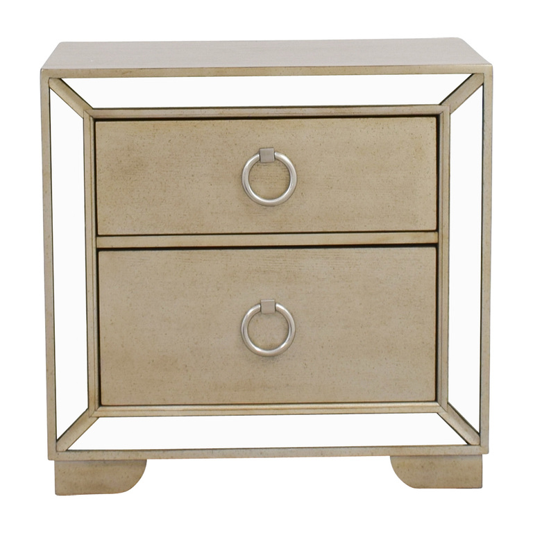 Art Deco Silver and Mirrored Two-Drawer Side Table sale