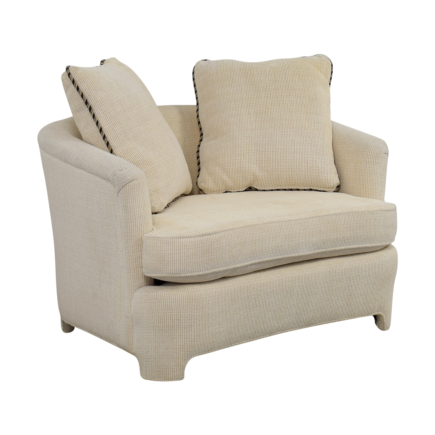 Nice ... Off White Accent Chair With Pillows ...