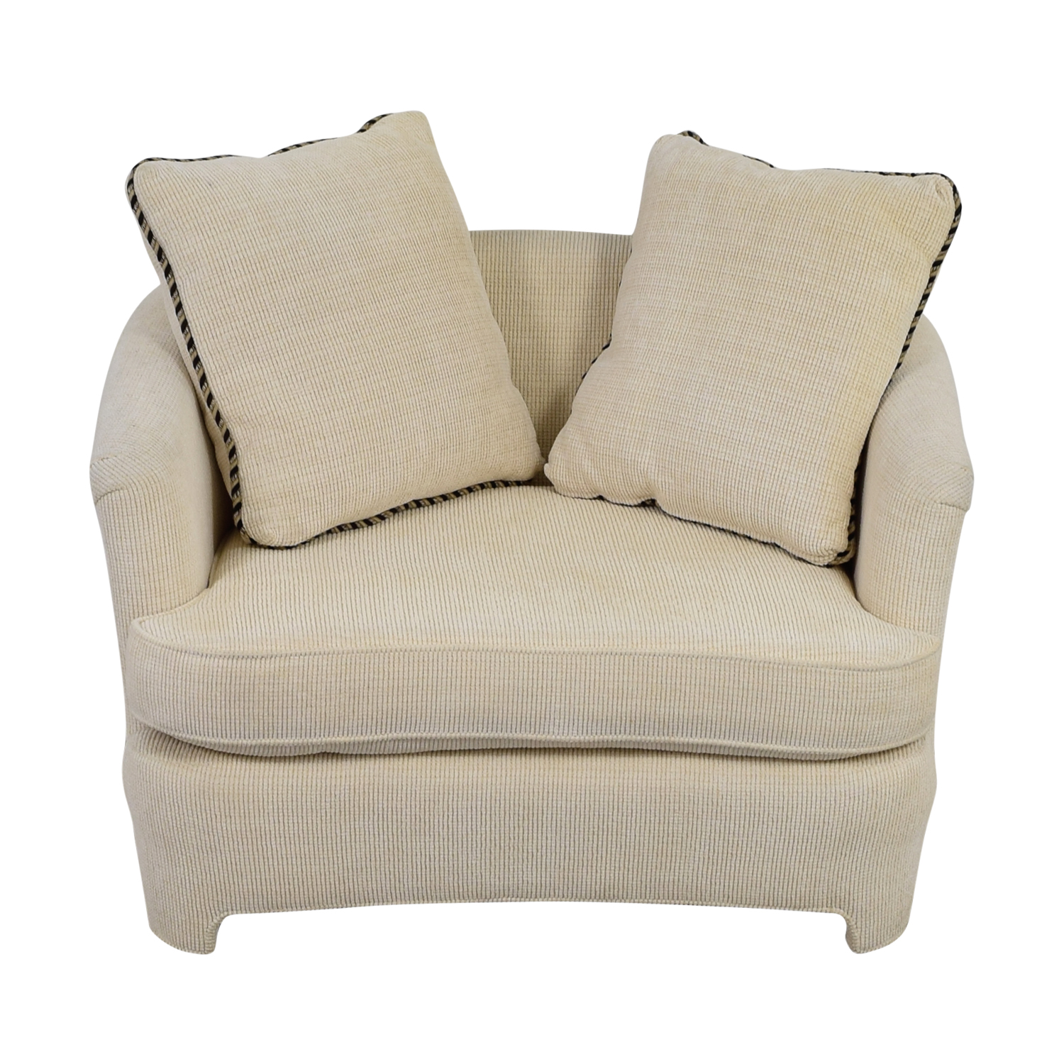 Off White Accent Chair with Pillows