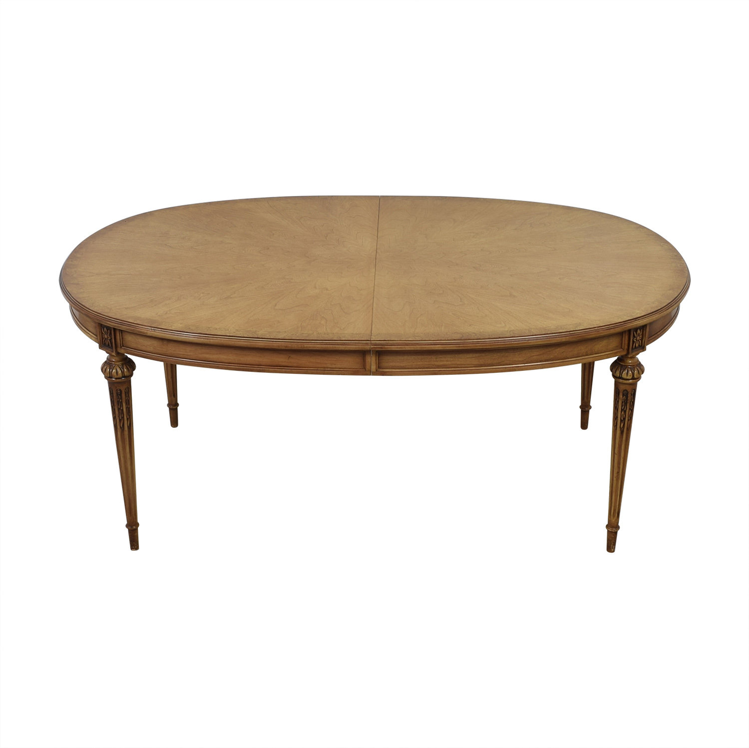 Oval Wood Dining Table with Protective Pad and Two Leaves Dinner Tables