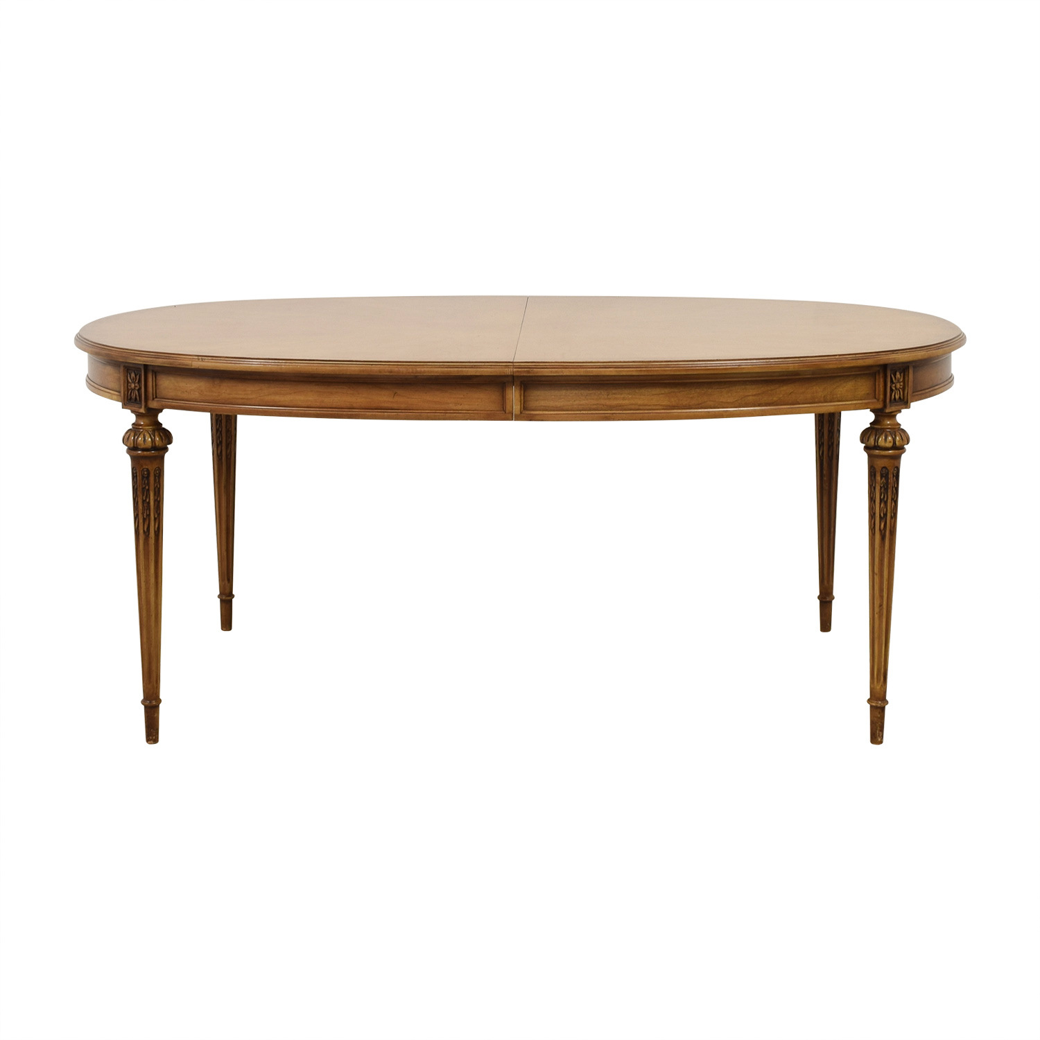 62 Off Oval Wood Dining Table With Protective Pad And Two Leaves Tables