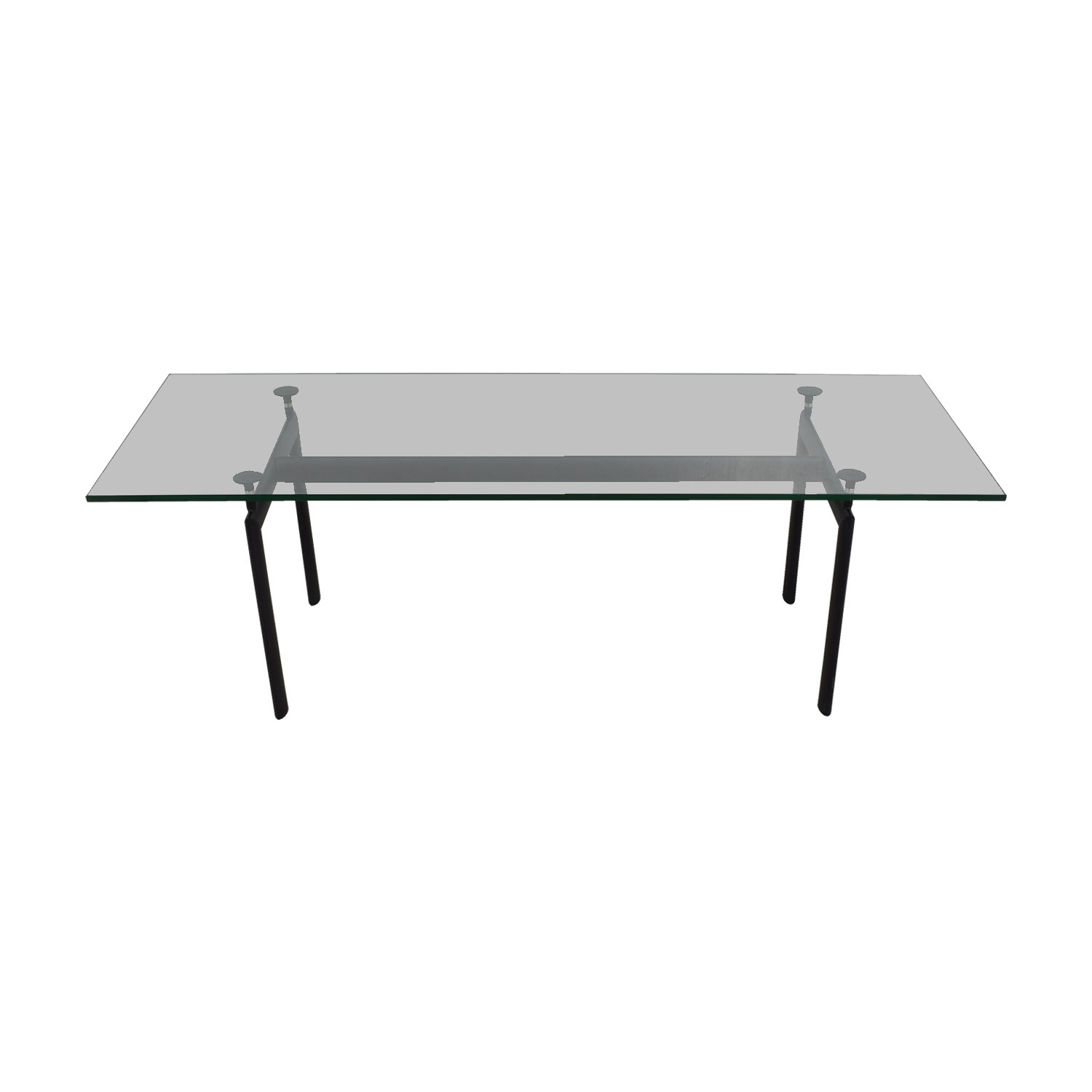 buy Kardiel LC6 Black Base and Glass Top Dining Table Kardiel