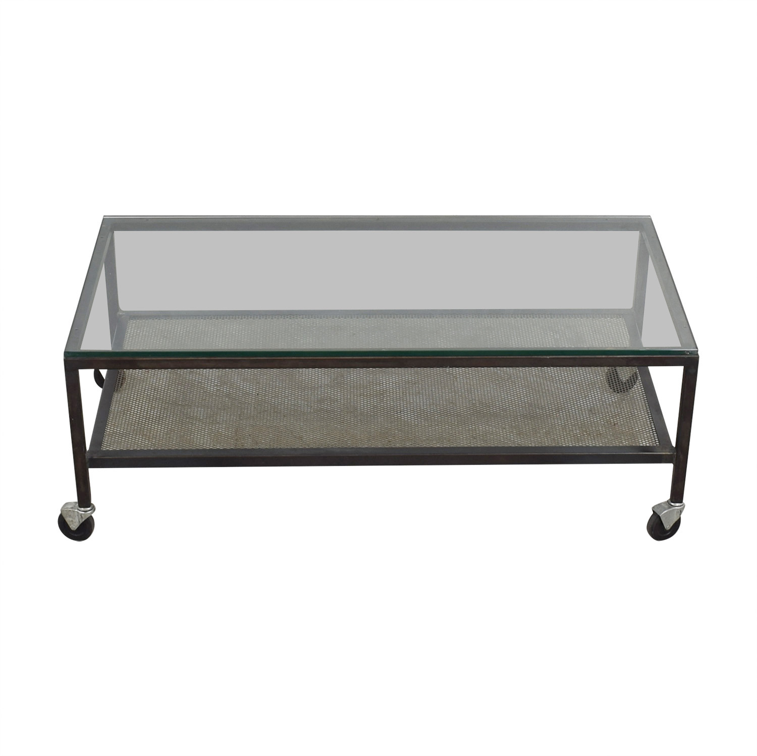 Mitchell Gold + Bob Williams Mitchell Gold + Bob Williams Industrial Glass Coffee Table on Castors used