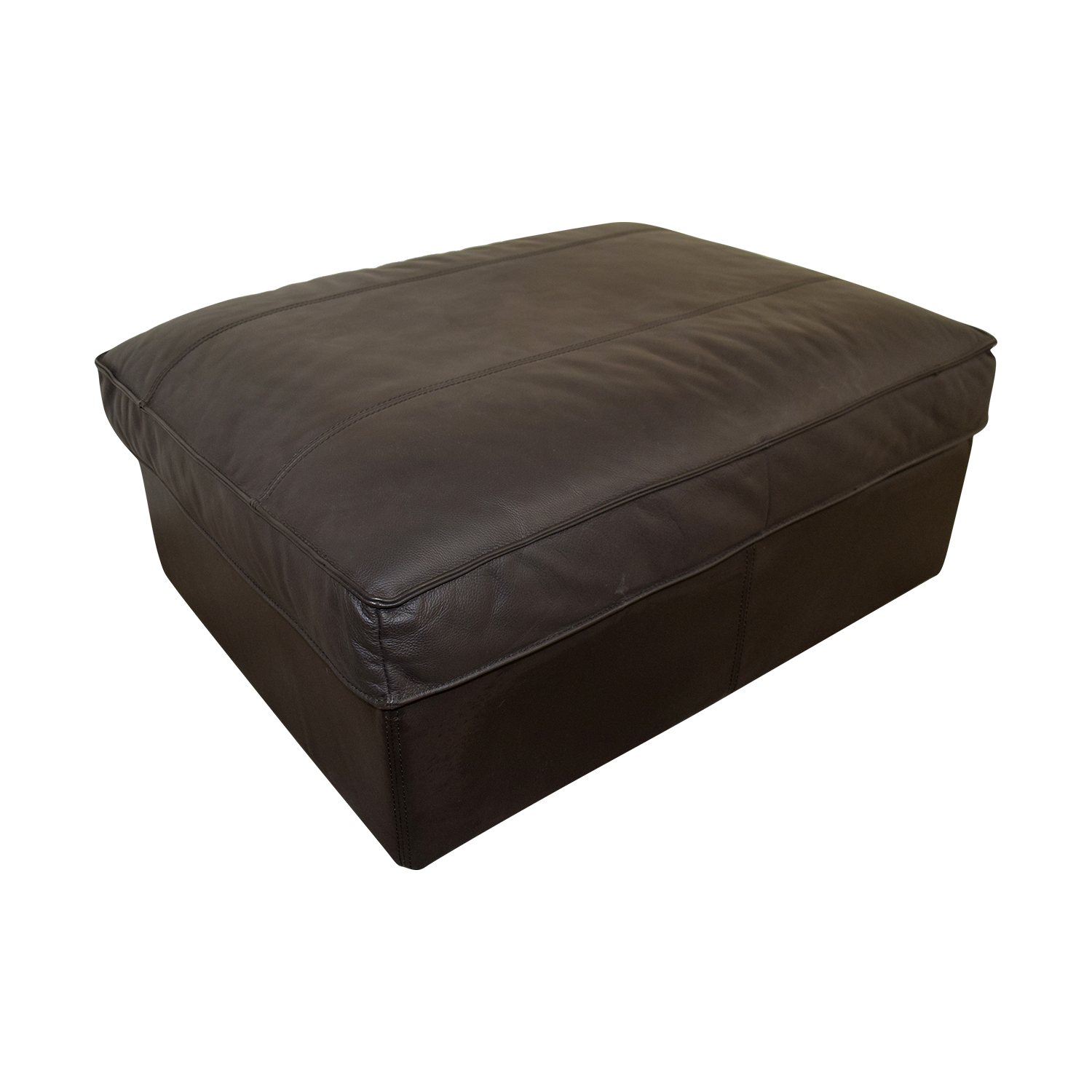 90 Off Ikea Ikea Brown Leather Storage Ottoman Storage