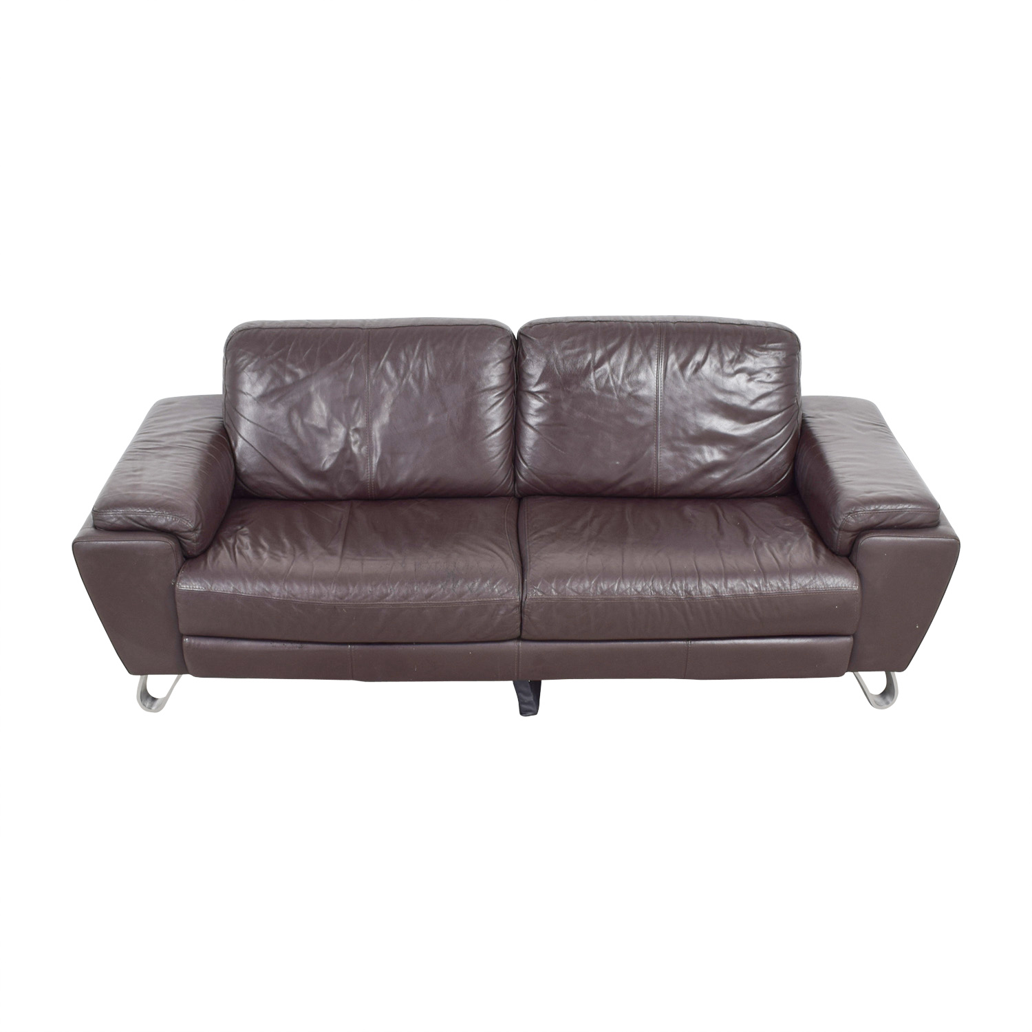 Michael Angelo Design Michael Angelo Design Brown Leather Sofa on sale