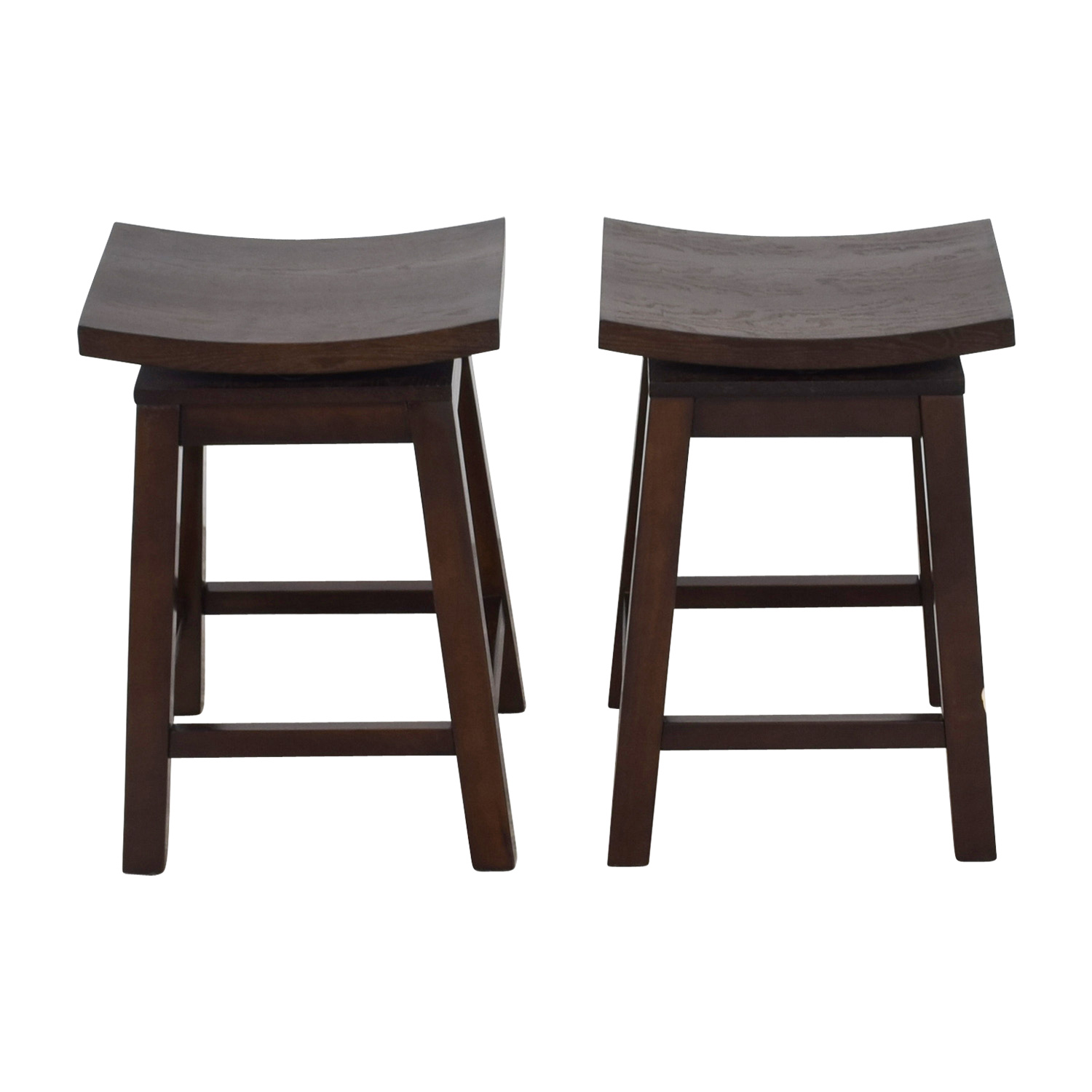 Asian Style Wood Saddle Counter Height Swivel Stools second hand