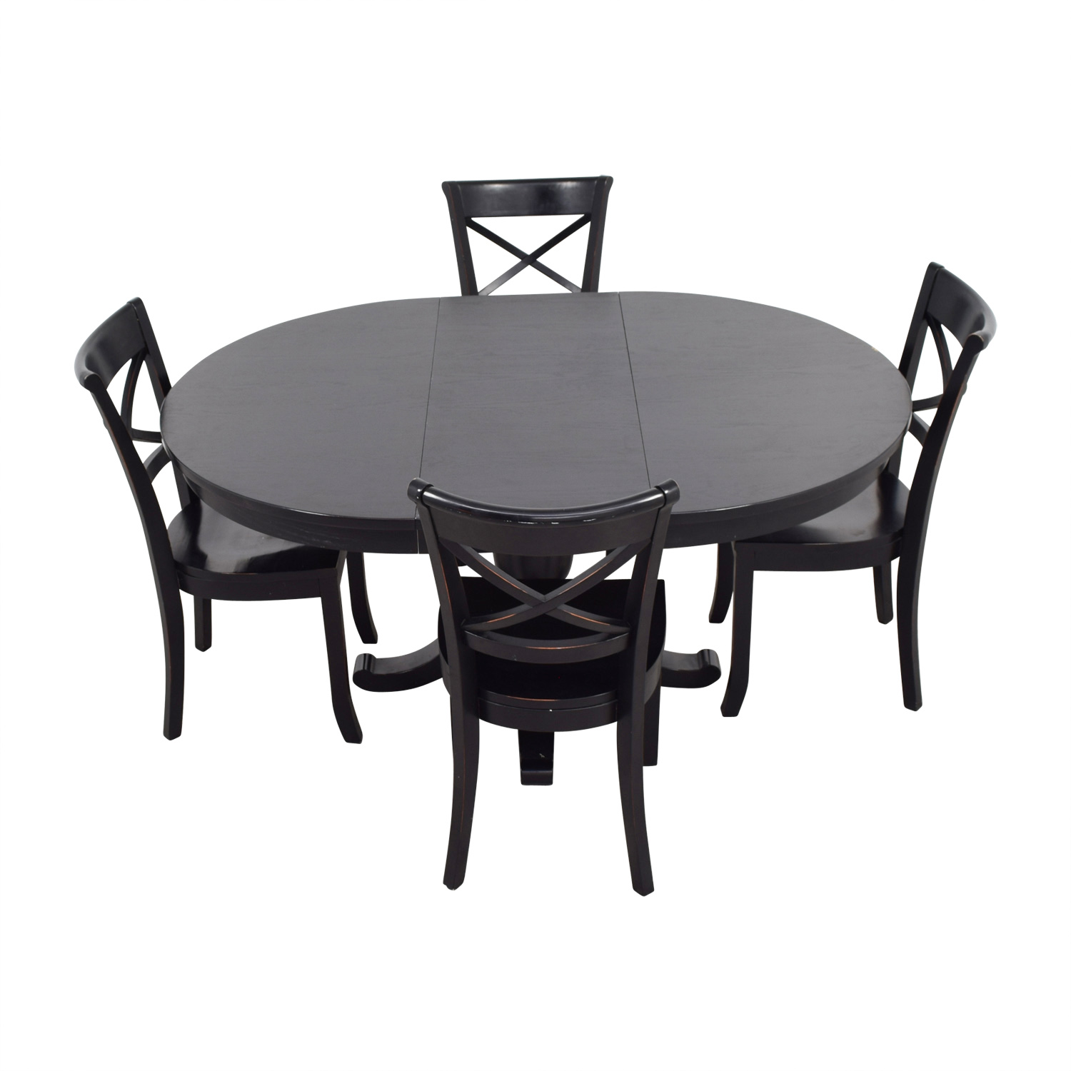 shop Crate & Barrel Avalon Black Dining Set Crate & Barrel Sofas