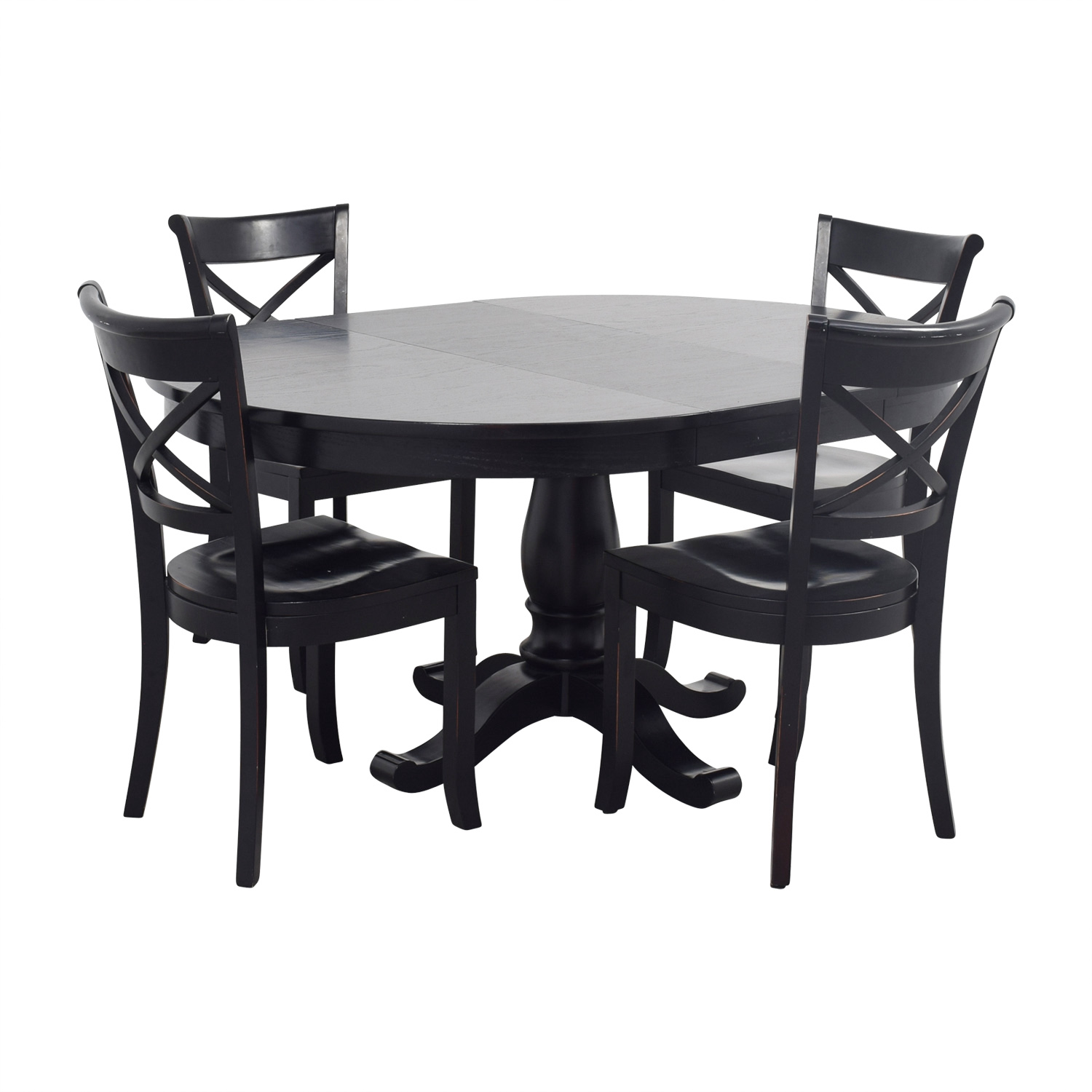 81% OFF - Crate & Barrel Crate & Barrel Avalon Black Dining Set / Tables