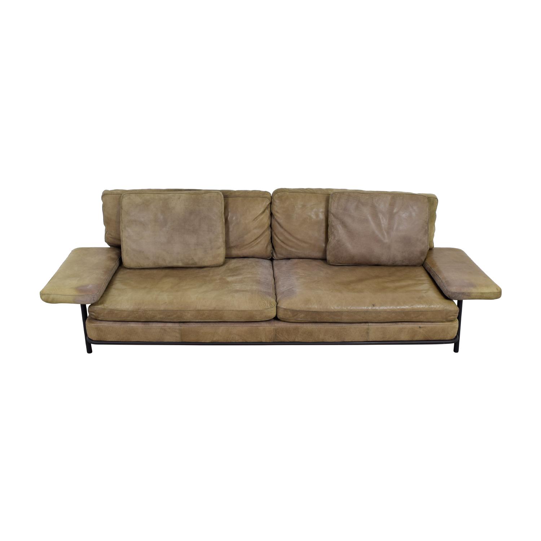 Timothy Oulton Two-Cushion Tan Leather Sofa / Sofas