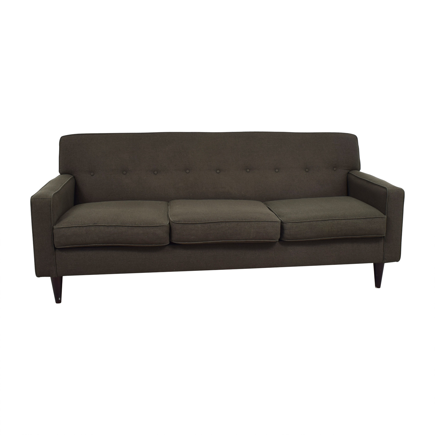 Max Home Semi-Tufted Three-Cushion Grey Sofa Max Home