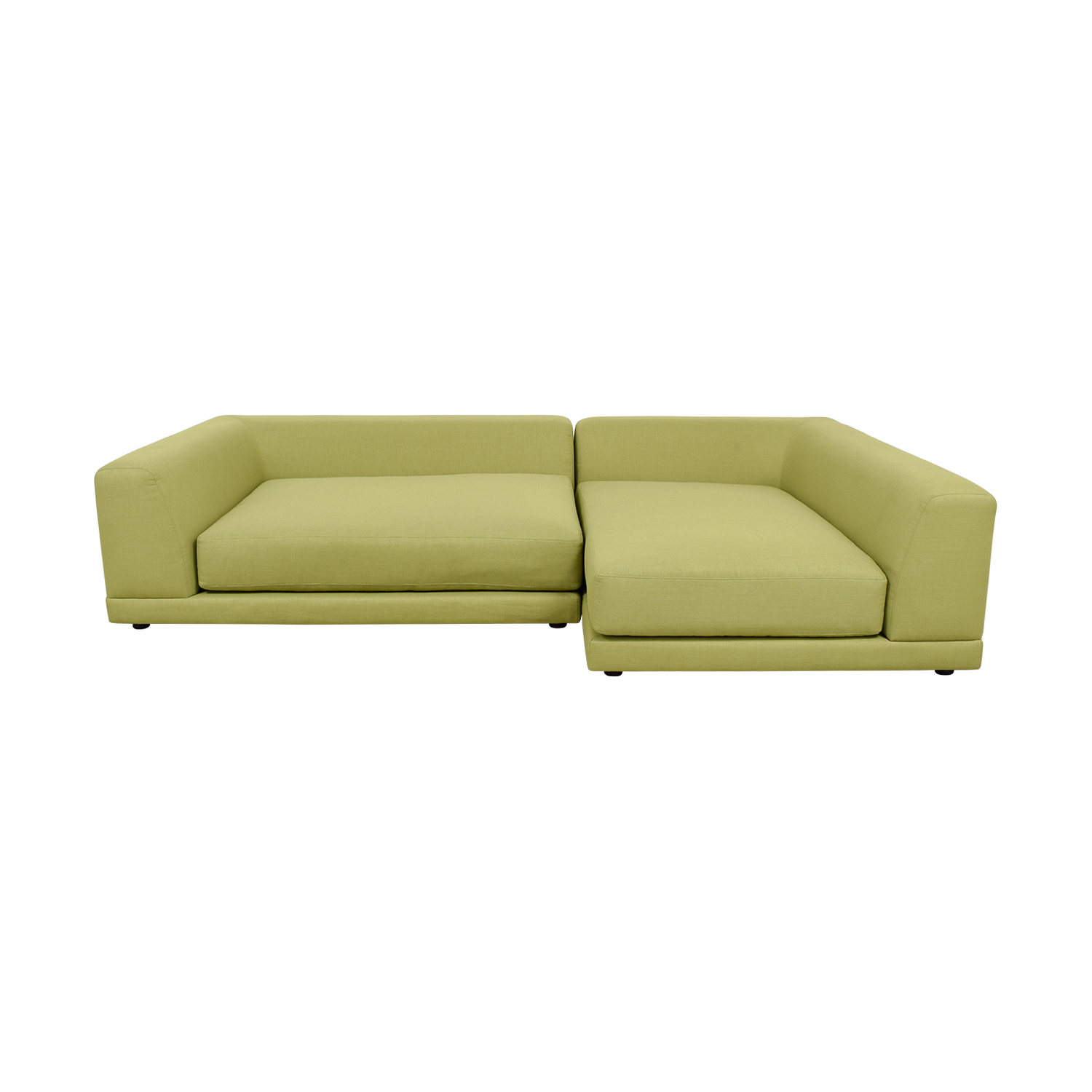 CB2 UNO Green L-Shaped Sectional sale