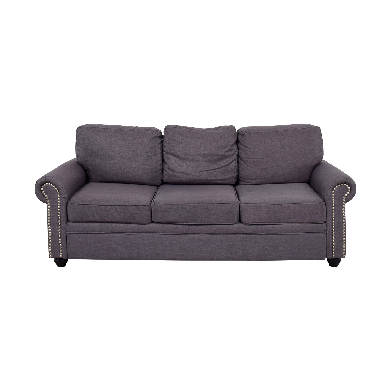 Grey Nailhead Three-Cushion Sofa / Classic Sofas
