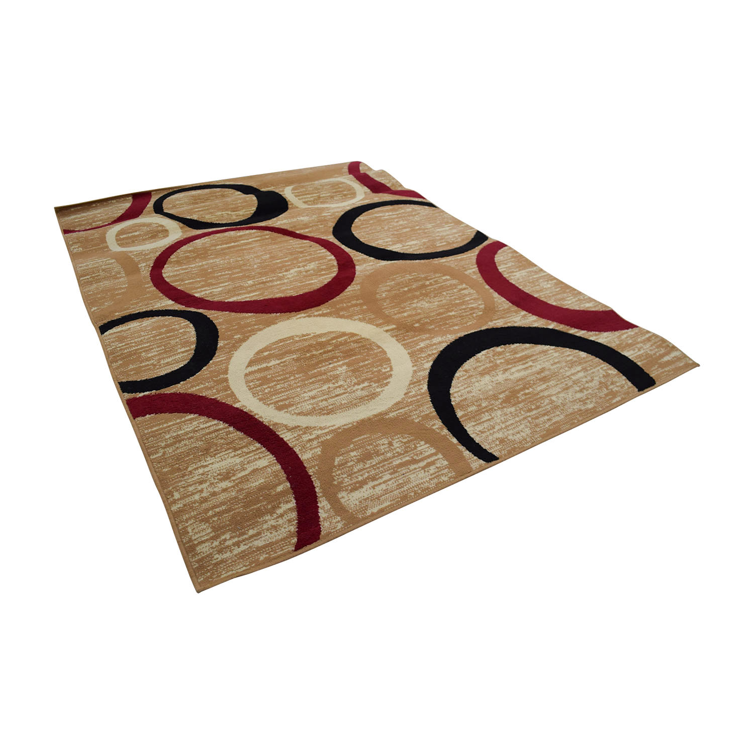 Tan Black and Red Circle Rug Rugs