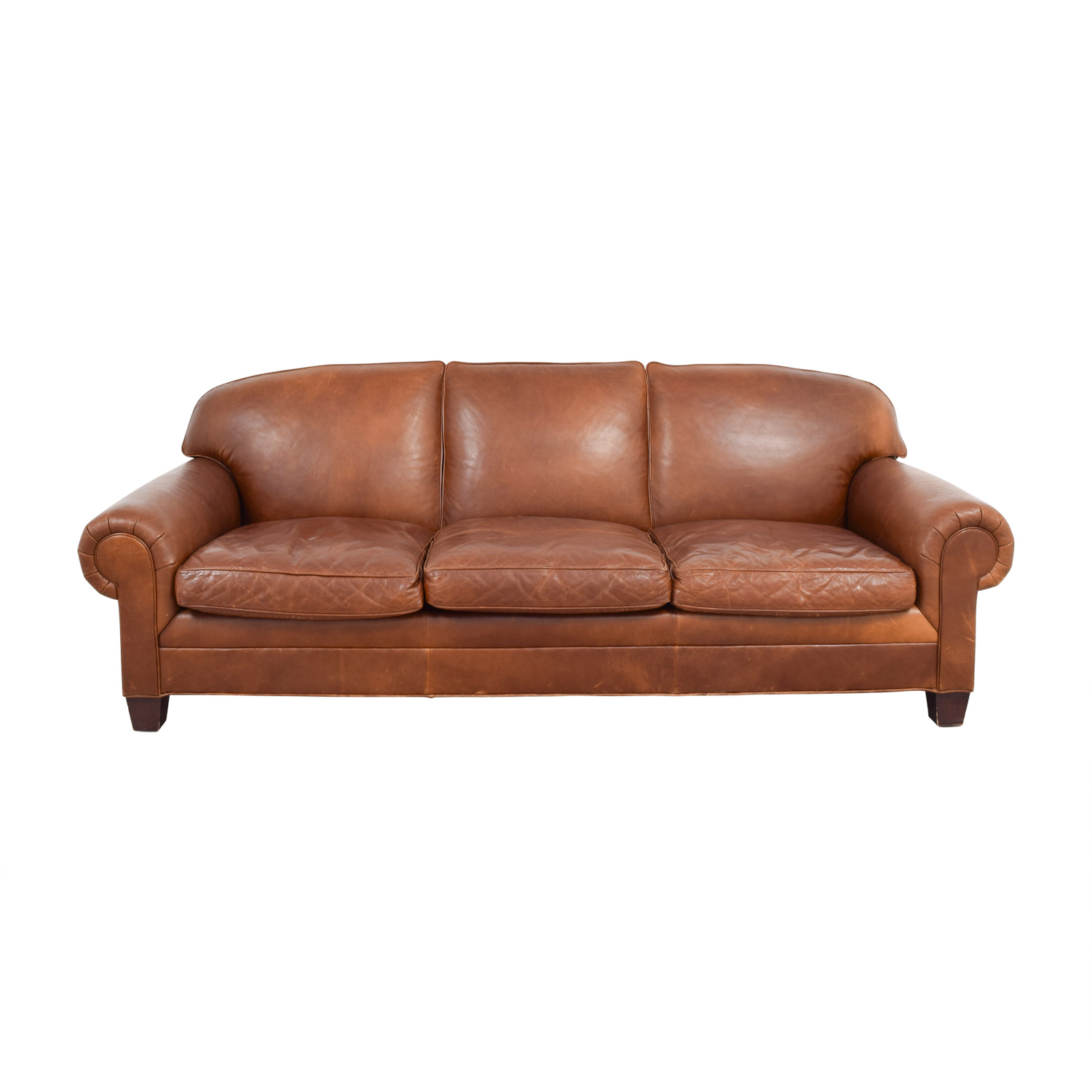 Ralph Lauren Ralph Lauren Burnt Orange Leather Sofa Second Hand ...