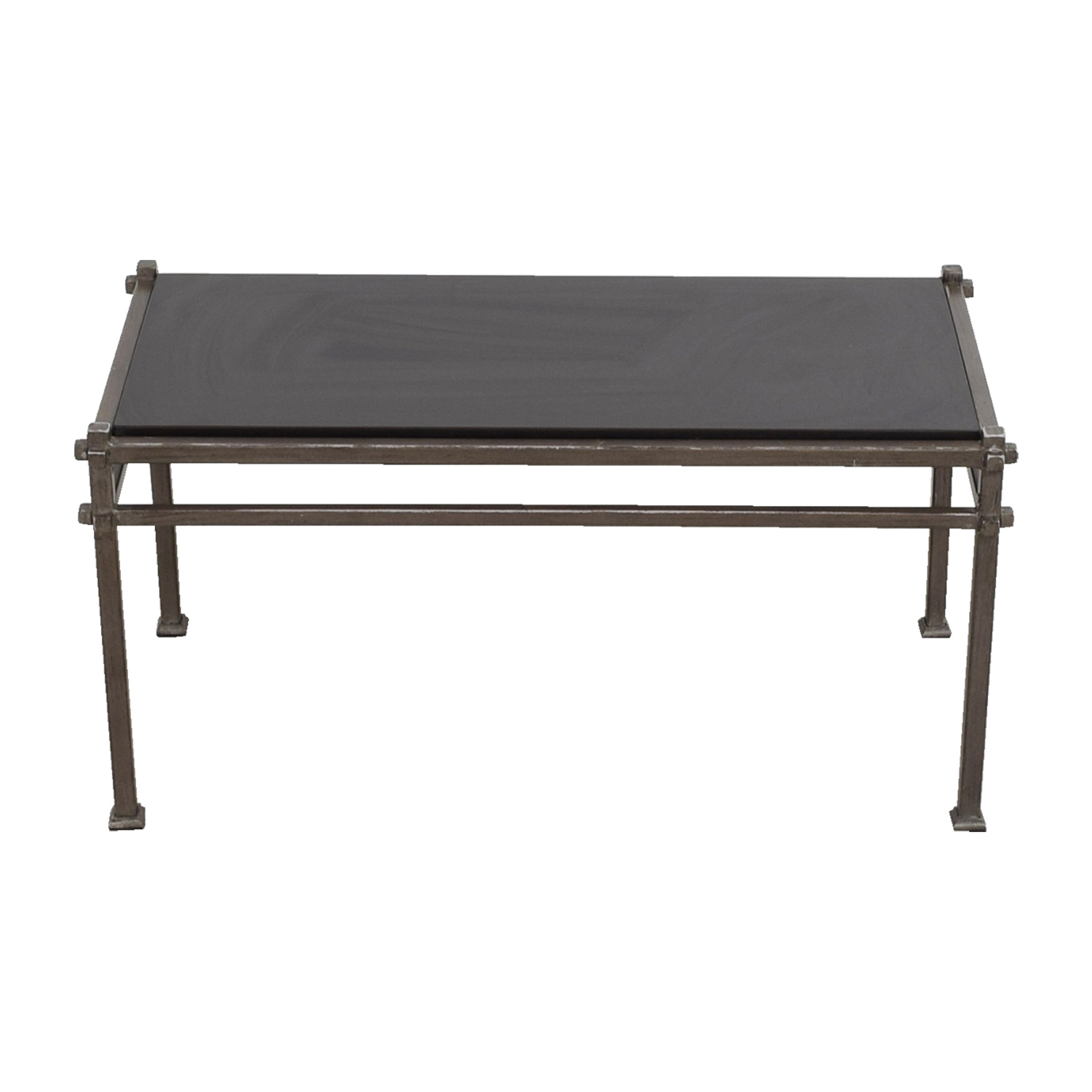 Pier 1 Imports Industrial Black Marble and Bronze Frame Coffee Table / Tables