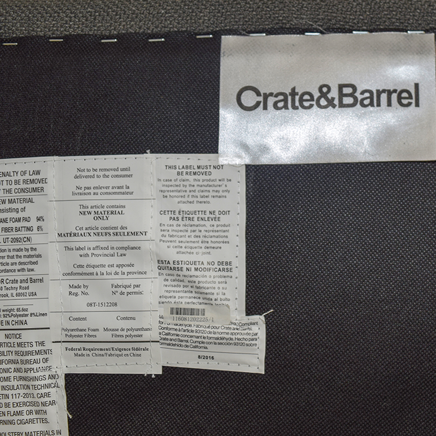 Crate & Barrel Crate & Barrel Grey Accent Chair on sale
