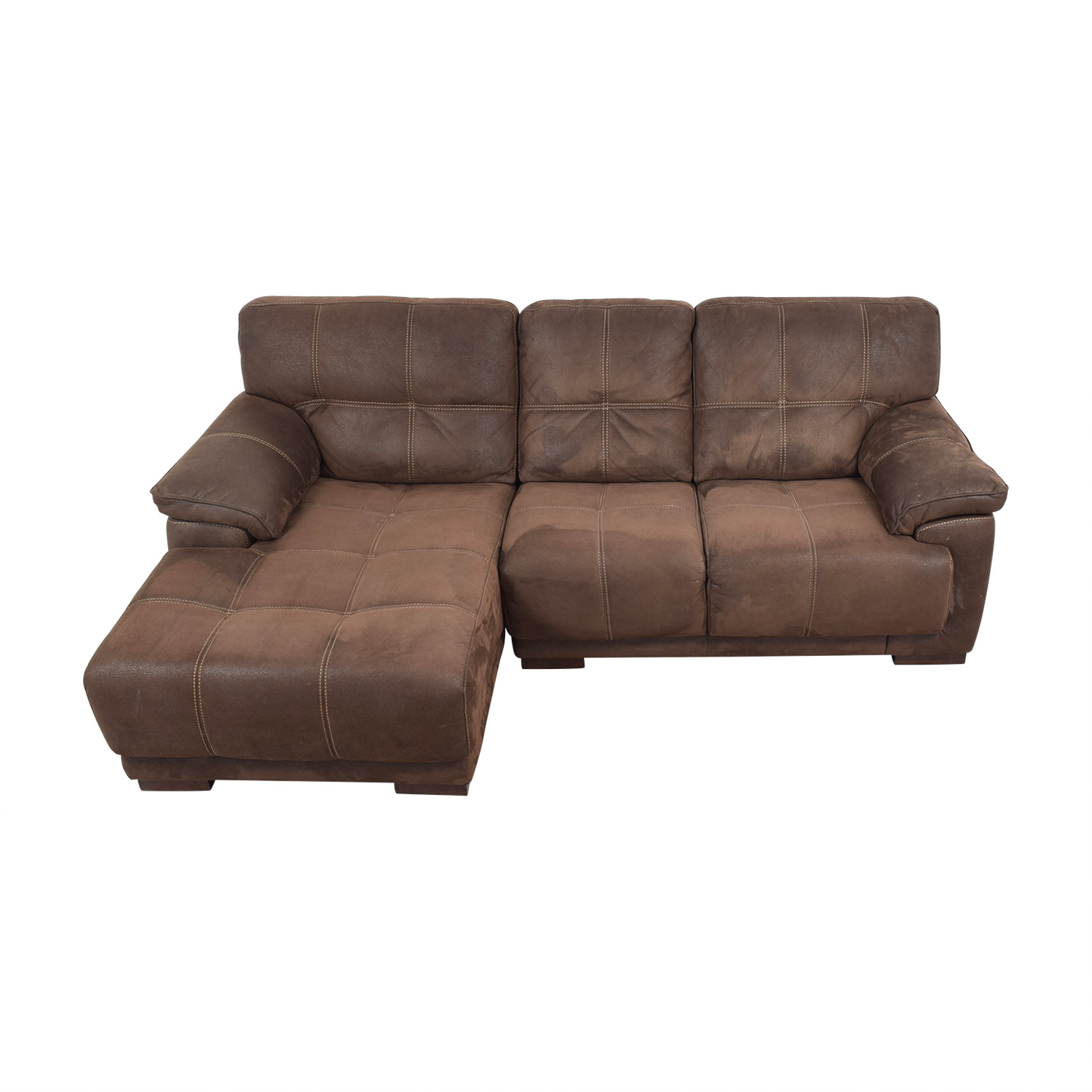 Raymour & Flanigan Brown Microfiber Chaise Sectional / Sofas