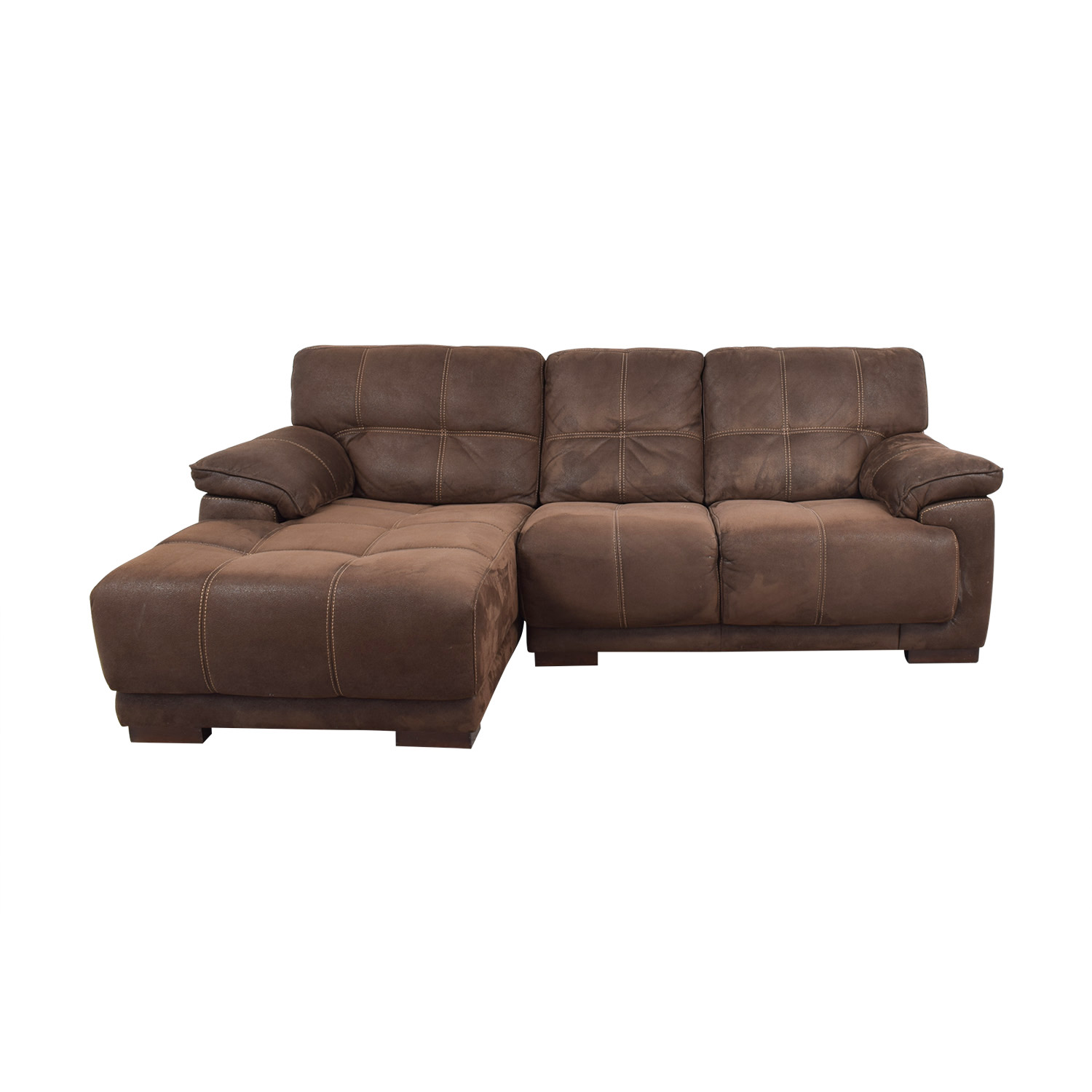 Raymour & Flanigan Brown Microfiber Chaise Sectional sale