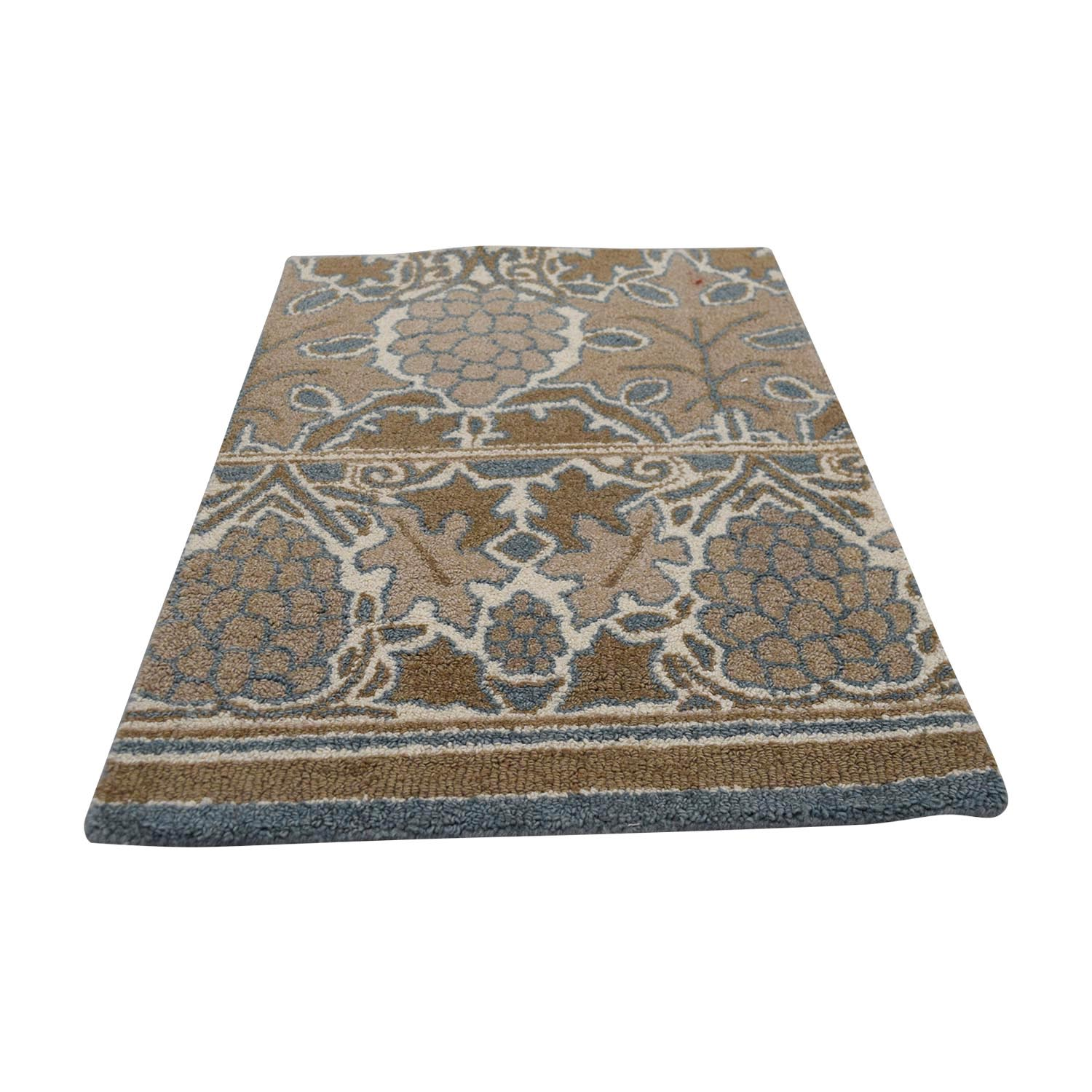 shop Obeetee Tan and Blue Wool Rug Obeetee