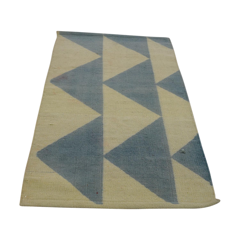 Obeetee Blue and Beige Wool Rug sale
