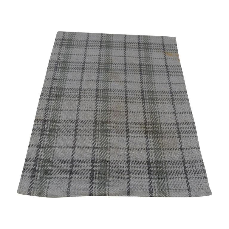 Obeetee Obeetee Grey Plaid Rug