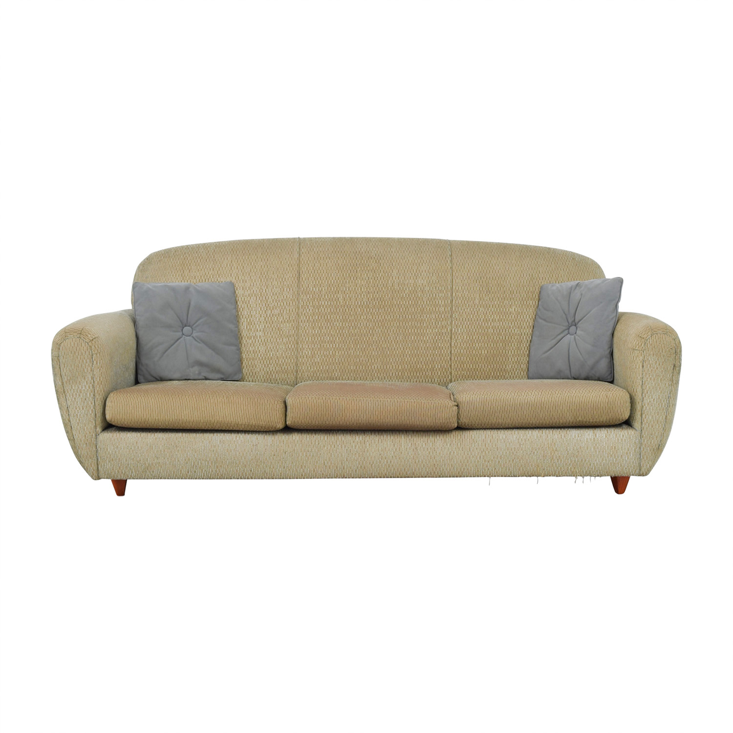 Green Multi-Colored Three-Cushion Sofa Classic Sofas