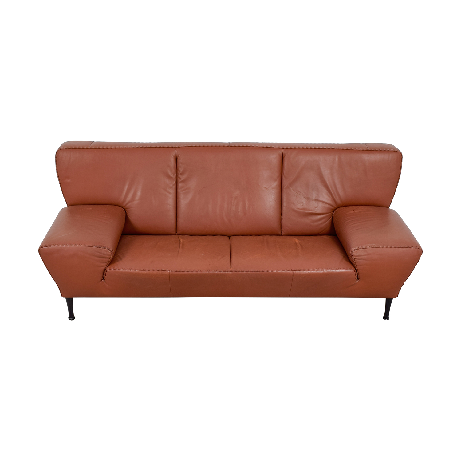 De Sede Paprika Leather Ribbon Detailed Sofa / Classic Sofas