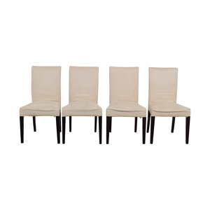 Off White Slip Covered Dining Chairs second hand