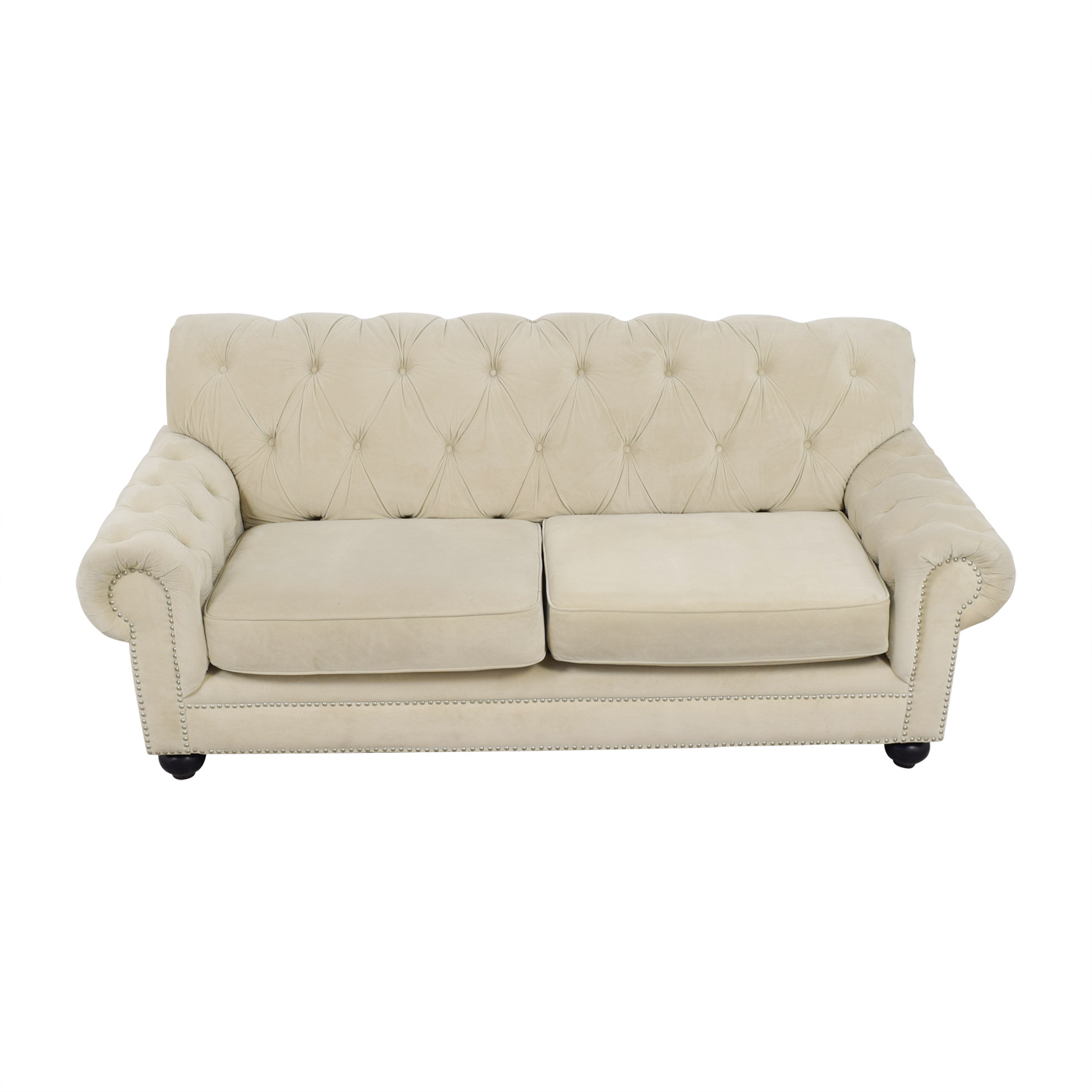 Chesterfield Style Tufted Beige Velvet Sofa nj